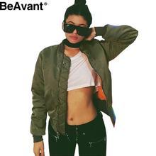 BeAvant Winter 2016 Army Green bomber jacket coat  Women pilot basic jackets Padded zipper warm chaquetas outwear parkas girls