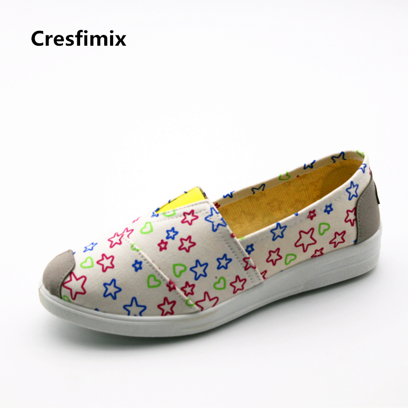Cresfimix zapatos de mujer women casual star print cloth flat shoes lady leisure spring & summer dance flat shoes soft shoes vintage women flats old beijing mary jane casual flower embroidered cloth soft canvas dance ballet shoes woman zapatos de mujer