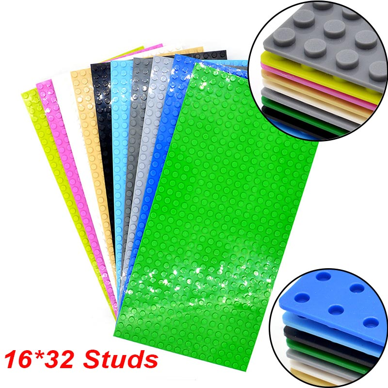 1pc MOC Blocks Baseplate 16*32 Studs Base Plate for Building Bricks Kids Educational Toys new big size 40 40cm blocks diy baseplate 50 50 dots diy small bricks building blocks base plate green grey blue