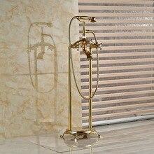 Современный монтажа ванной коготь — ноги ванна кран стоящая латунь золотой польский ванна краны