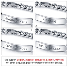 Personalized Engrave Silver Men Bracelet