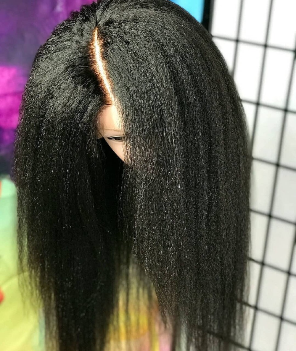 Kinky Straight Wig Lace Front Human Hair Wigs Full Lace Frontal Wig With Baby Hair Brazilian Remy Hair Bleached Knot Slove Funmi