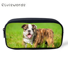 ELVISWORDS Kids Pencil Case Little Bulldogs Print Pattern Students Stationery Box School Supplies Cartoon Beautician