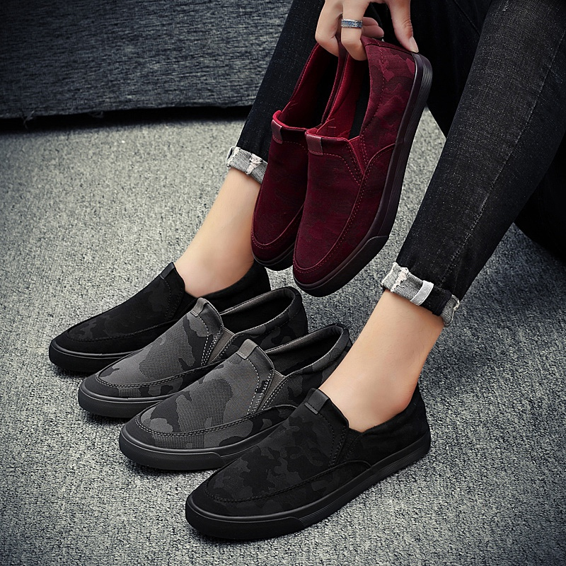 Fashion Man Casual Shoes Black Wine Red Male Loafers Adult Spring Autumn Mens Slip On Shoes Rubber Bottom Walking Shoes цены онлайн