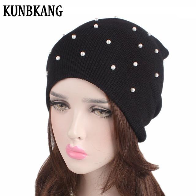 b15d8d26 2018 Pearl Winter Hats For Women Beanie Knitted Hat Woman Winter Beanie  Female Hat Bonnet Femme Warm Skullies Beanies For Ladies