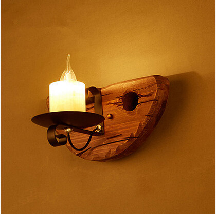 IWHD American Country LED Wall Light Retro Loft Wall Lamp Wooden Marble Candle Fixtures For Home Lighting Bar Cafe Living Room