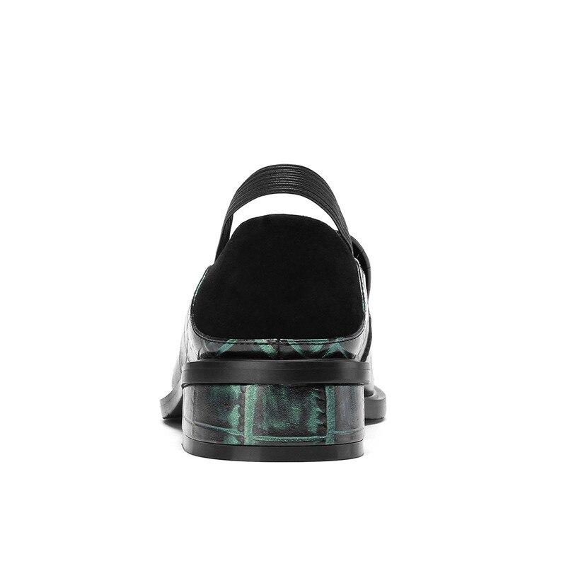 Pompes Femmes T De Carré Cuir Épais À Véritable Talons Deux En on Sortes Femelle Slip Hauts vert 2019 Nouvelles Esrfiyfe Noir Bout Style Chaussures Ol shirts Ag10qw1