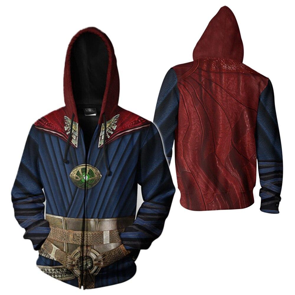 Doctor Cosplay Strang Costumes Men Women 3D Printed Sweatshirt Superhero Adults Long Sleeve Zipper Hooded Pullovers Streetwear