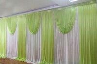 3*6 м Apple зеленые шторы белое свадебное фон занавес комплект свадебное оформление сцены вечерние свадебные фоне стены занавес