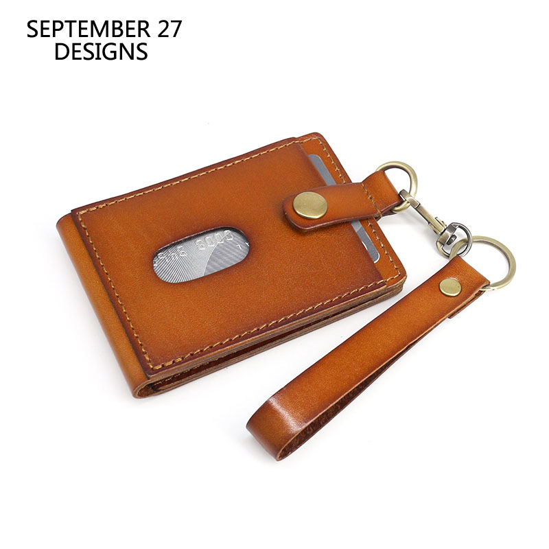 Genuine Leather Vertical Style ID Badge Holder Retractable Lanyard Neck Strap Or Keychain Cow Credit Card Holder Id Card Case