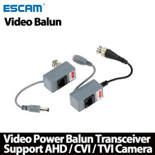 ESCAM 10 шт. аксессуары для камеры видеонаблюдения Аудио Видео балун трансивер BNC UTP RJ45 Видео балун с аудио Power over CAT5/5E/6 кабель