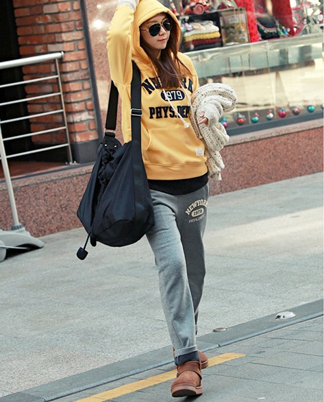 Sports set pki new arrival women's brushed thickening casual set