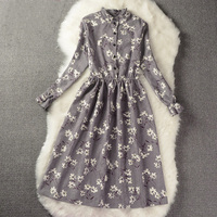 Floral Print Style Slim Cute Stand Collar Single Breasted Women Vintage Autumn Winter Dress For Girls