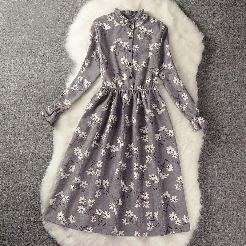 Floral Print Stil Schlanke Niedlichen Stehkragen Single Breasted Plissee Kleid Frauen Vintage Herbst Winter Kleid Damen 9 Optionen XH028