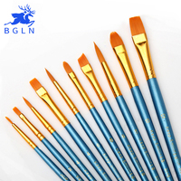 Super Value 10Sets Round Pointed Tip Nylon Hair Brush Set For Watercolor Oil Acrylic Painting Art