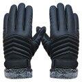 2016 Novos Homens de Esportes de Inverno Térmica Quente Anti Slip Luvas Aquecidas Luvas Toque Luvas de Tela Ao Ar Livre de Pulso de Couro