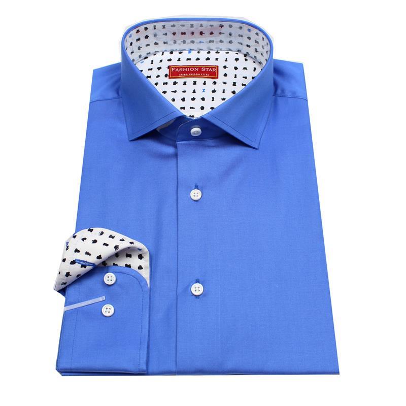 pure cotton long sleeve royal blue men's custom tailor made ...