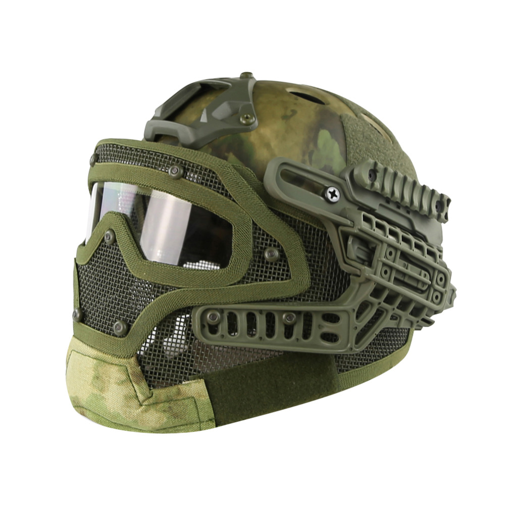 FG Camouflage PJ Type Helmet Tactical Fast Helmet with Protective Goggle and Mesh Face Mask for Airsoft Paintball airsoft helmet emerson fast helmet with protective goggle pj type fg green em8819