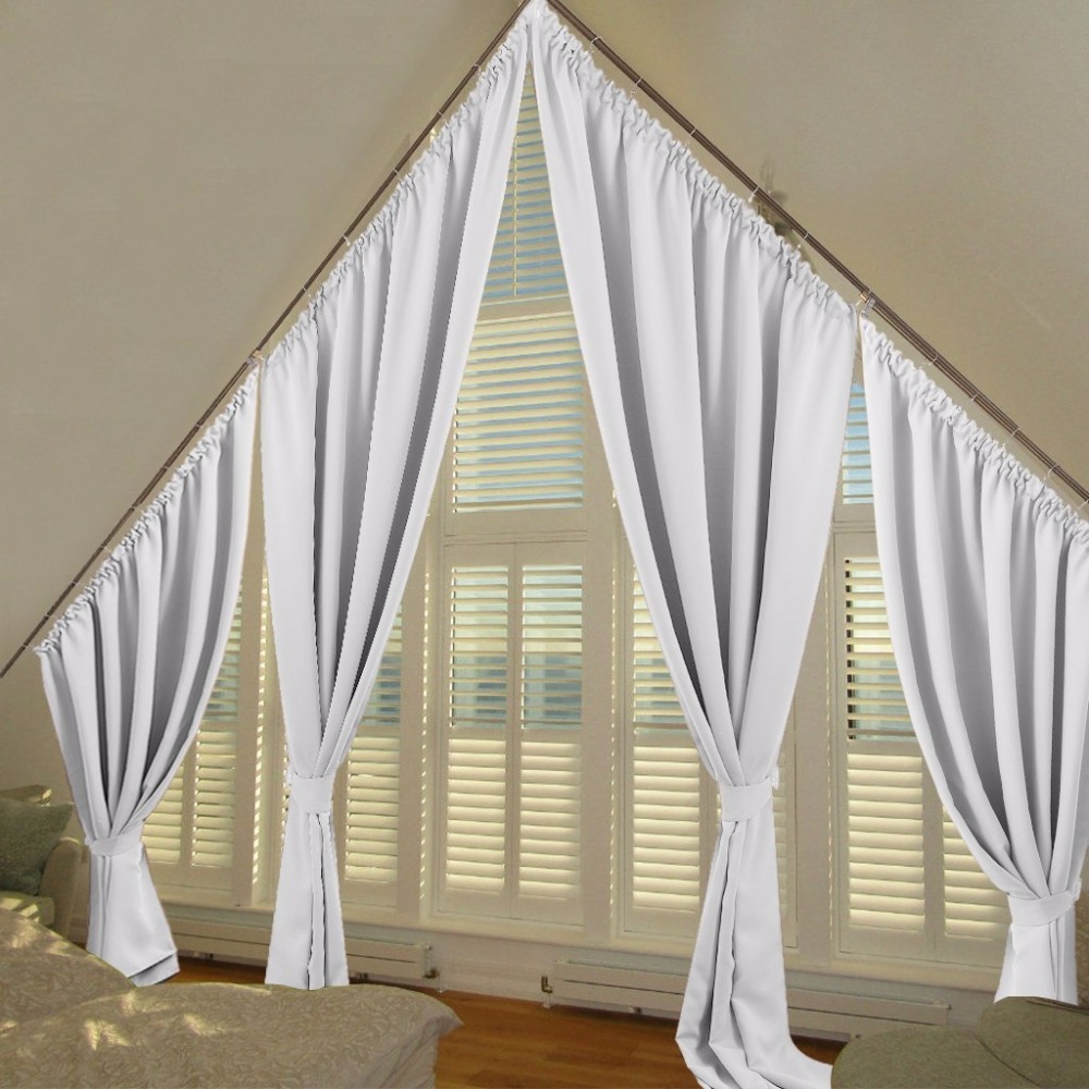 Greyish White Room Darkening Curtains Thermal Insulated Slanted Window Drapes For Villa Draperies Triangle In From Home Garden On