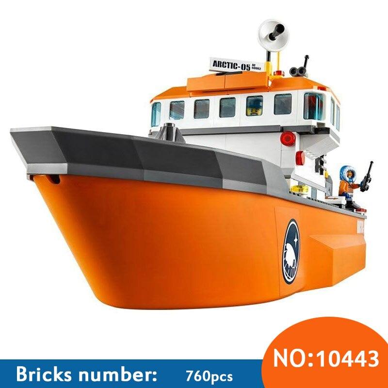 где купить 2017 New Bela 10443 760Pcs City Arctic Icebreaker Model Buildinlg Kits minis Blocks Brick Toys Compatibe With 60062 DIY по лучшей цене
