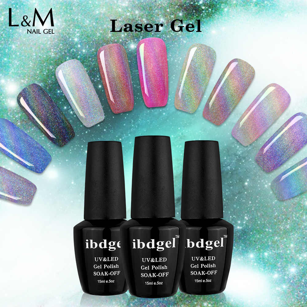 3 Botol Laser Gel Profesional UV Gelpolish Glitter Hologram UV Kuku Cat Kuku Seni Manikur UV Nail Gel Polish Rendam off