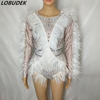 Обувь для ночного клуба женские певица костюм белые перья жемчуг боди сверкающие кристаллы колготки одежда для сцены танцор джазовое высту