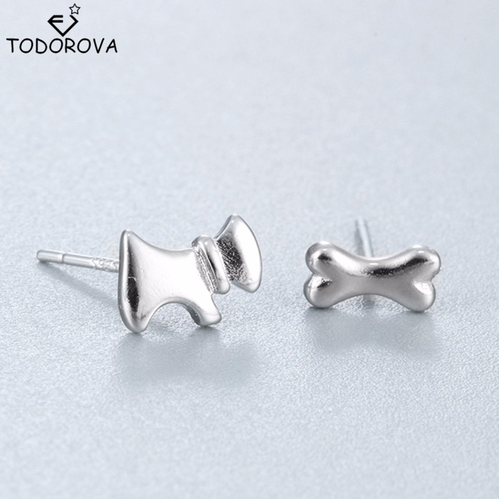 Todorova Hot Sale Real 925 Sterling Silver Earrings Brand New Asymmetric Design Cute Dog With Bone Stud Earrings For Women