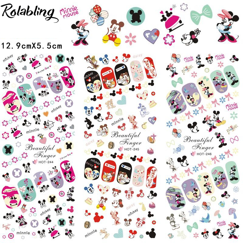 Rolabling Lovely Princess full cover nail sticker cartoon on nail art stickers for minion nail sticker sheet rolabling 110v