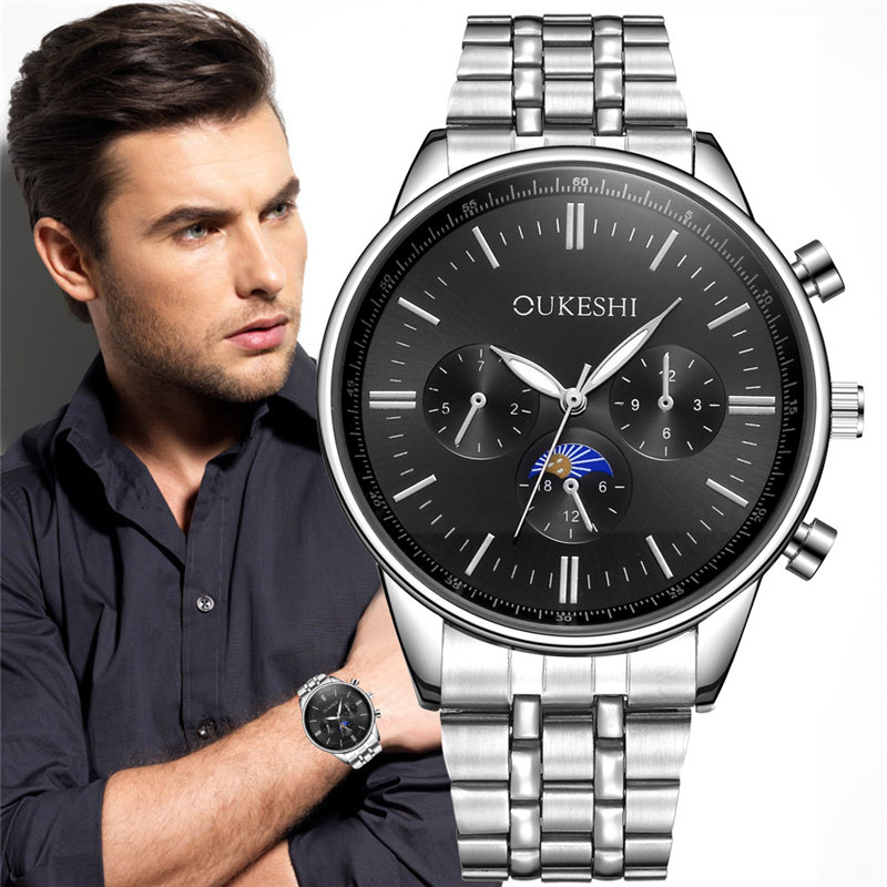 Men Quartz 2017 High Quality Luxury Fashion Stainless Steel Quartz Analog Wrist Watch Sport Watches Gifts Luxury superior new fashion men s luxury concept stainless steel analog quartz sport wrist watch wholesale free shipping