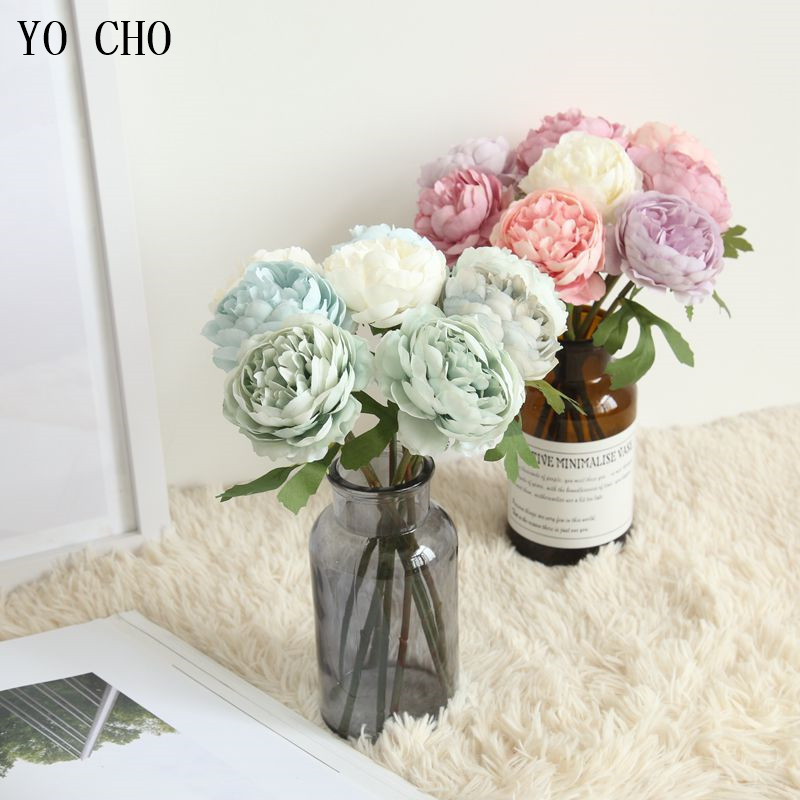 YO CHO Wedding Flower Artificial Silk Tea Rose DIY Bridesmaid Bouquet Flower Arrangement Wedding Party Accessory Home Room Decor