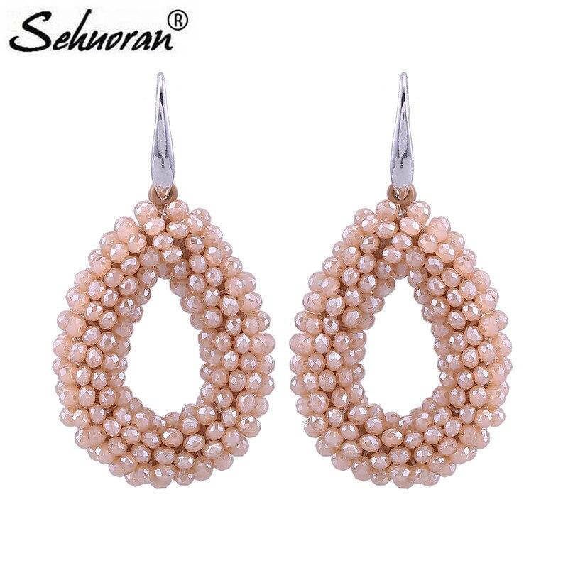 ef5b7ea61b98 Cheap Pendientes de gota grandes de Sehuoran para mujer cuentas de cristal  facetadas línea de cuerda
