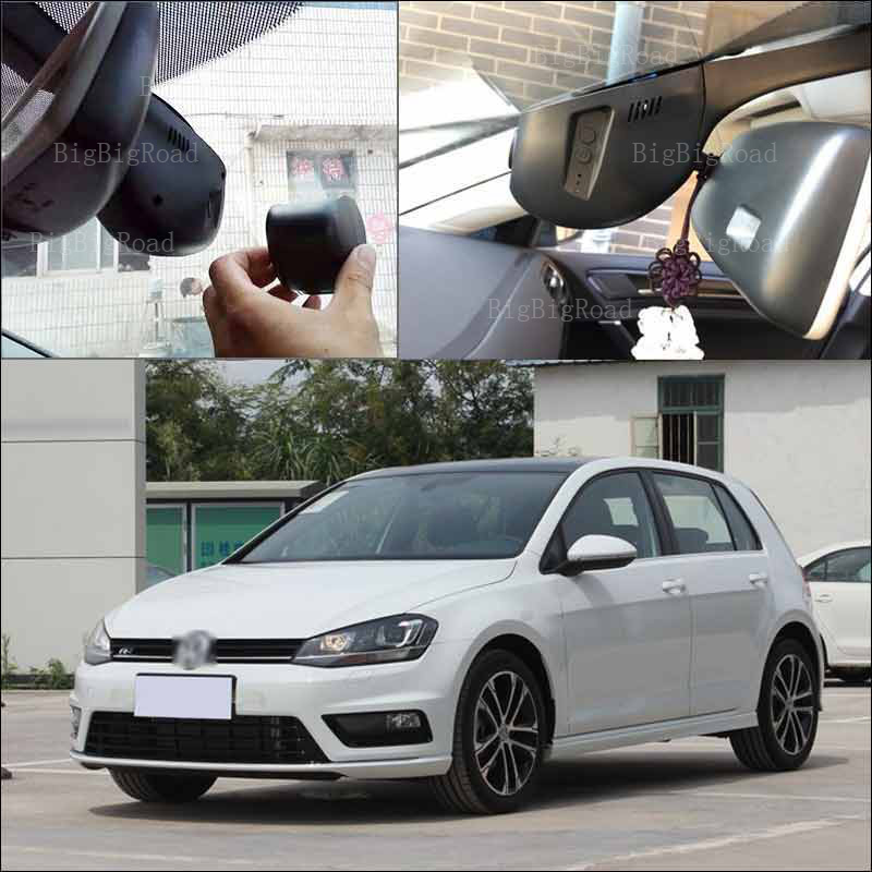 BigBigRoad For vw golf 7 2015 Car Driving Video Recorder Hidden type APP control Car wifi DVR Novatek 96655 black box Dash Cam bigbigroad for vw multivan car wifi dvr driving video recorder hidden type novatek 96655 car black box keep car original style