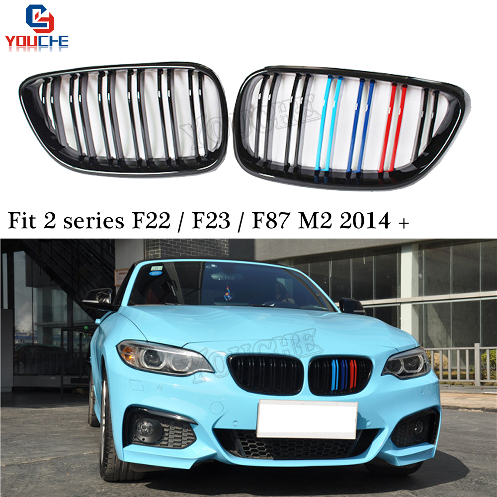 PERFORMANCE STYLE M-COLOR GLOSS BLACK FRONT KIDNEY GRILLES for BMW F22 2-SERIES