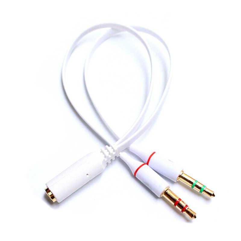3.5 wtyczka 1 żeński do 2 męski Y Splitter Audio słuchawki kable słuchawki przetwornik combo adapter splitter do zestaw słuchawkowy z mikrofonem