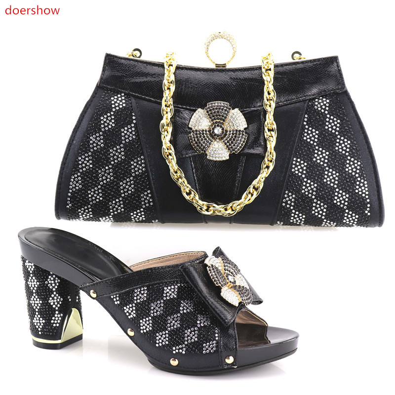 doershow  Italy Shoe and Bag Women High Quality Italian Shoe and Bag Set Decorated with Rhinestone African Wedding Shoes SHV1-60 doershow high quality italian shoe and bag to match women shoes african party shoes and bag set green with rhinestone kh1 3