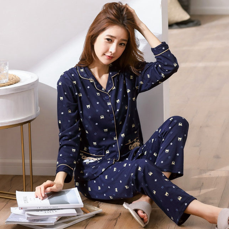 2018 Autumn Cotton Pajamas Sets For Women Long Sleeve Cartoon Print Pyjamas Femme Lounge Sleepwear Homewear Pijama Home Clothing