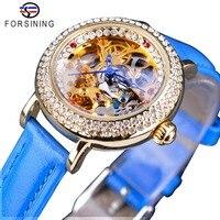 Forsining Fashion Blue Lady Diamond Gold Flower Movement Transparent Small Lady Women Mechanical Skeleton Watch Top Brand Luxury