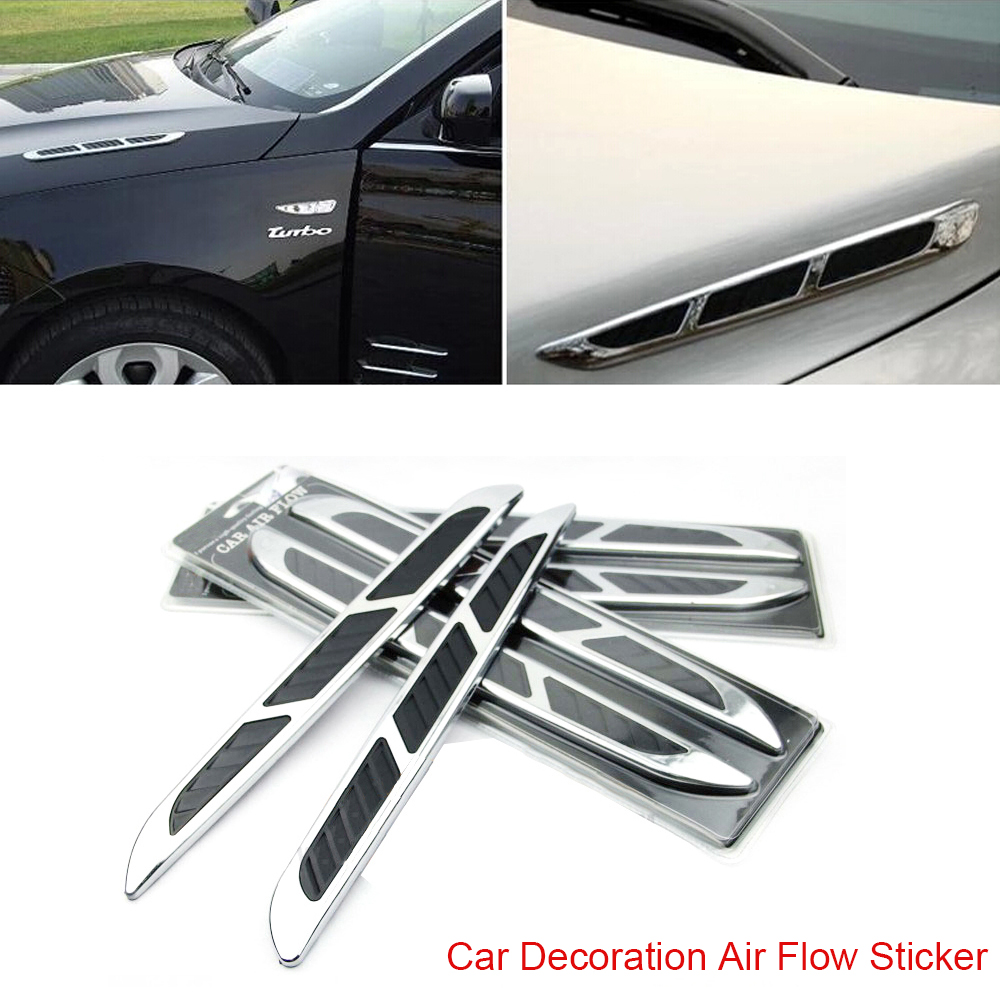 2 pcs Super 3D Silver Car Chrome Grille Shark Gill Simulation Air Flow Vent Fender  Decals Stickers Decoration Cover gill hasson positive thinking