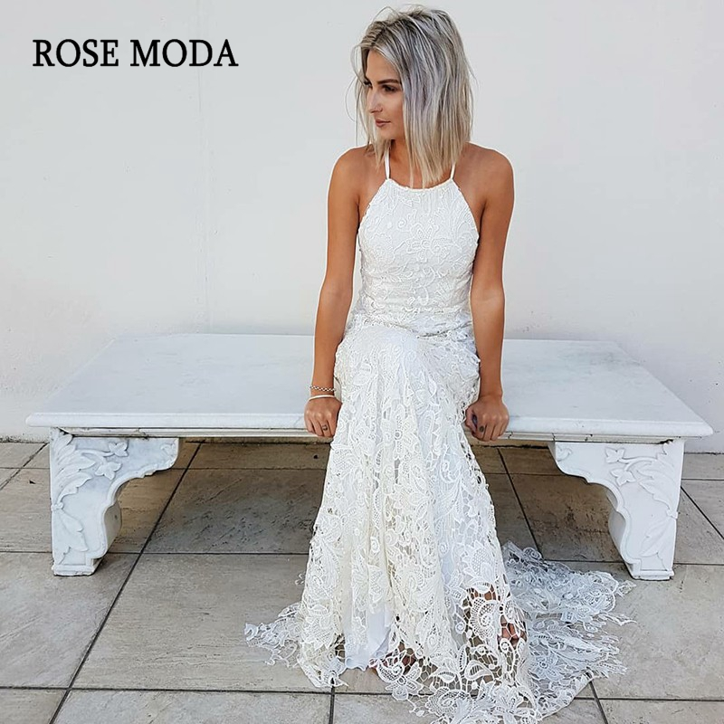 Rose Moda Backless Lace Boho Wedding Dress 2019 Halter ...Backless Halter Wedding Dresses