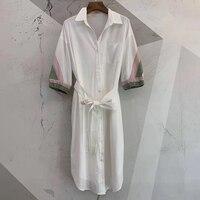 Роскошное Брендовое платье Весна 2019 известный бренд женское элегантное платье Весна 2019 женские пояса до середины икры платье повседневное