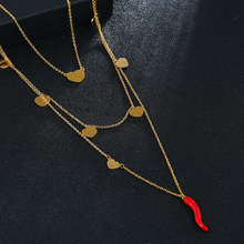 Red Enamel Tiny Chili Pendant Necklaces Gold/Silver Color High Quality Stainless Steel Choker Necklace Women Jewelry 20mm rose gold and silver 3d chili charm chili pepper stainless steel pendant diy earrings necklace accessories sale by package