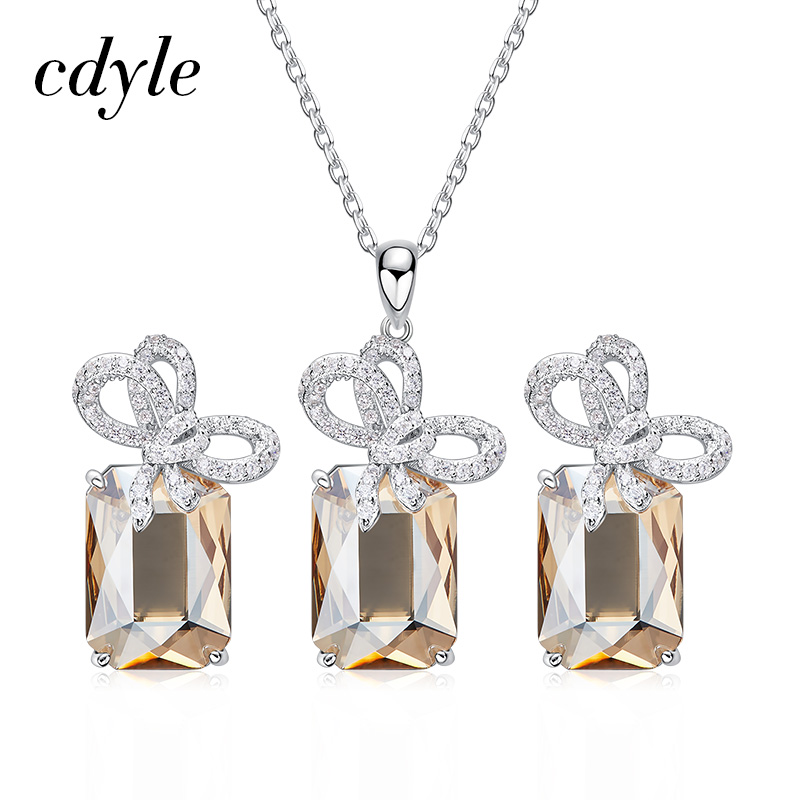 Cdyle Embellished with crystals 925 Silver Twining Bowknot Jewelry Set Crystal Necklace&Earrings for WomenCdyle Embellished with crystals 925 Silver Twining Bowknot Jewelry Set Crystal Necklace&Earrings for Women