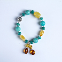Original DIY amber bracelet Sterling silver natural chicken oil yellow old bees with S925 silver hand string female certificate