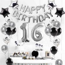 16 21st 18 Birthday Theme Silver Balloon Deco Ballons Decoration Girl Happy Party Supplies