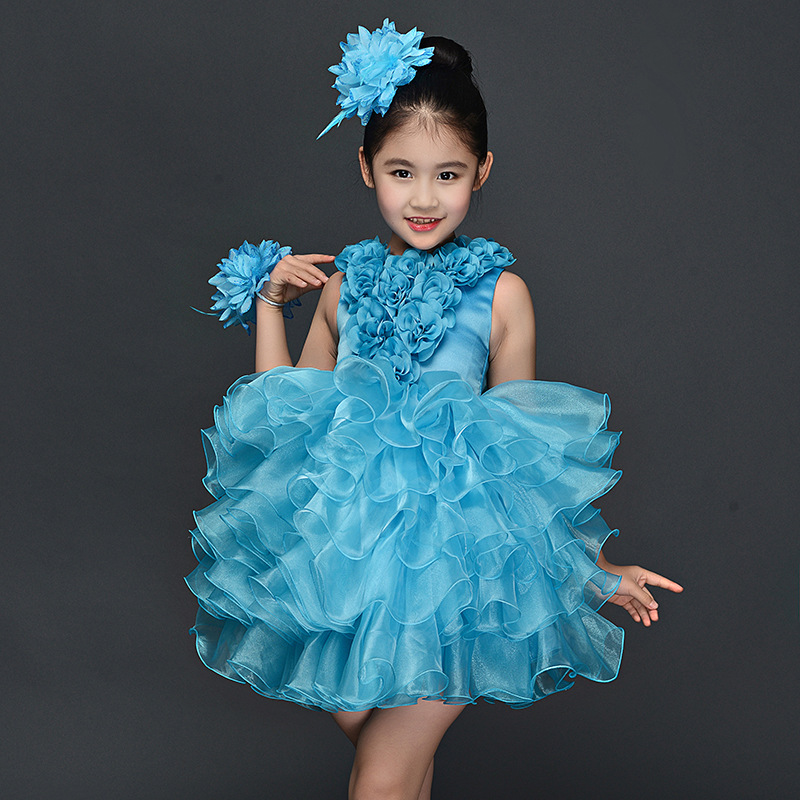 Children Girl Piano Costume Dress Girls Latin Dress For Girl Kids Ballet  Dancing Host Costume For Girls Performance Jazz Dance