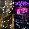 Christmas Lights AC 220V EU Plug Romantic Fairy Star Pendant 2M 5 Colors LED Curtain String