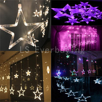 Christmas Lights AC 220V EU Plug Romantic Fairy Star Pendant 2M 5 Colors LED Curtain String