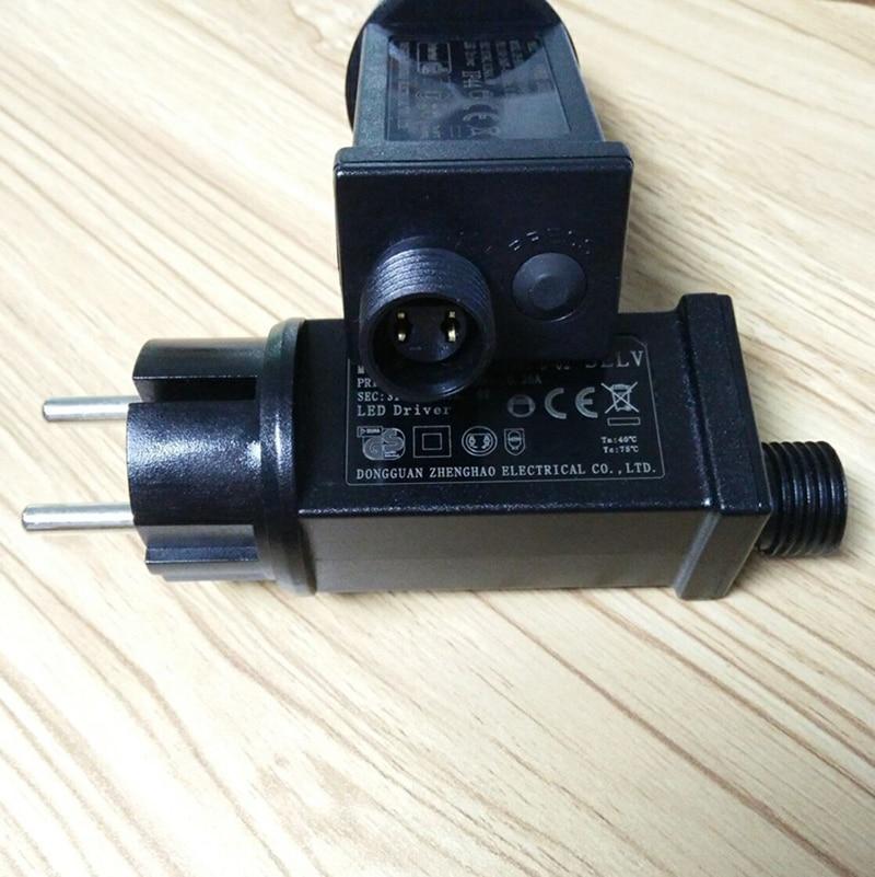 Adaptador de energia da ue ip44 à prova dwaterproof água para luzes da corda luzes led adaptador de energia 31 v 6 w sempre brilhante/piscando