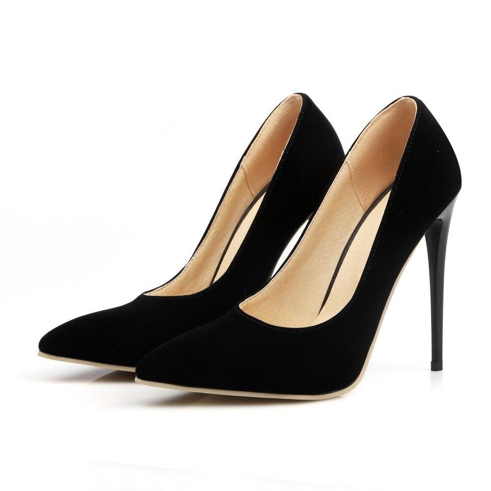 Hohe dünne Fersen 12cm 10cm Nubukleder Frauen Schuhe Mode spitze - Damenschuhe - Foto 5