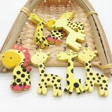 50 шт. корейские Мультяшные Животные Жираф деревянные кнопки для окрашенных плоских пластин Пустые кнопки аксессуары для одежды